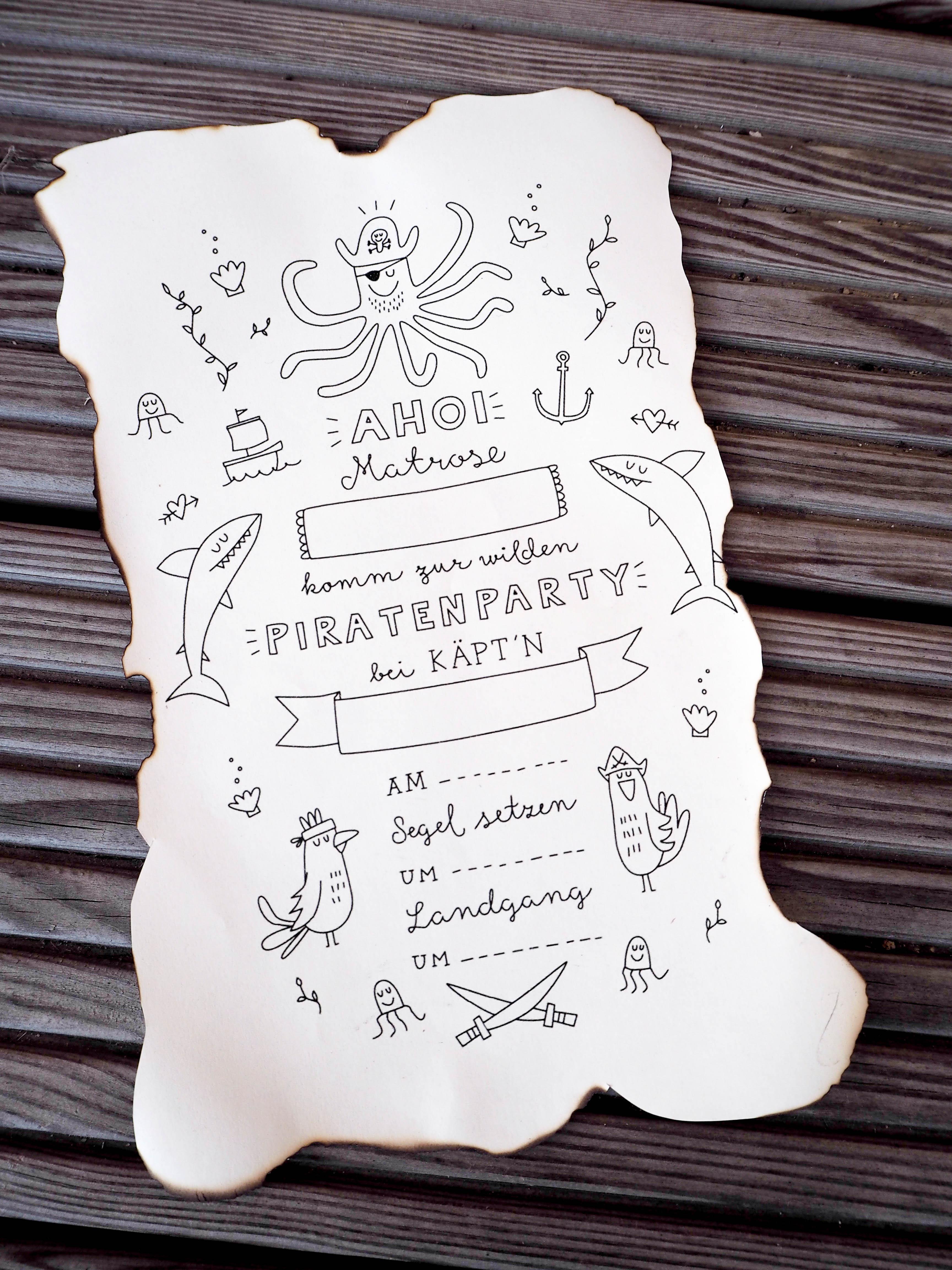 diy → einladung zur piratenparty | flaschenpost - justgooodvibes, Einladung